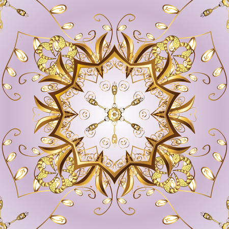 golden daisy: Golden snowflake simple ornament pattern. Abstract sketch, wrapping decoration. Symbol of winter, Merry Christmas holiday, Happy New Year 2018. Vector golden pattern on background. Illustration