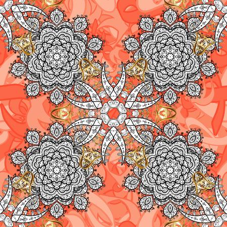 Damask white abstract flower seamless pattern on background. Ornate decoration. Vector illustration. Illustration