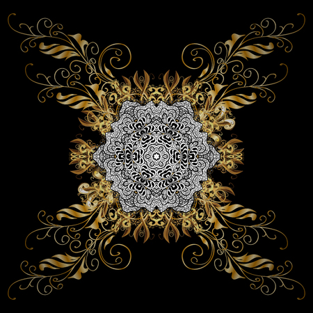 friso: Classic vector golden pattern. Traditional orient ornament, classic vintage background. On black background with golden elements.