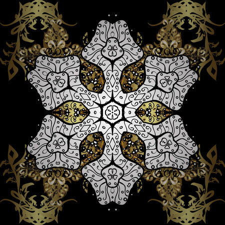 Traditional classic vector golden. Black background with golden elements. Oriental ornament in the style of baroque. Illustration