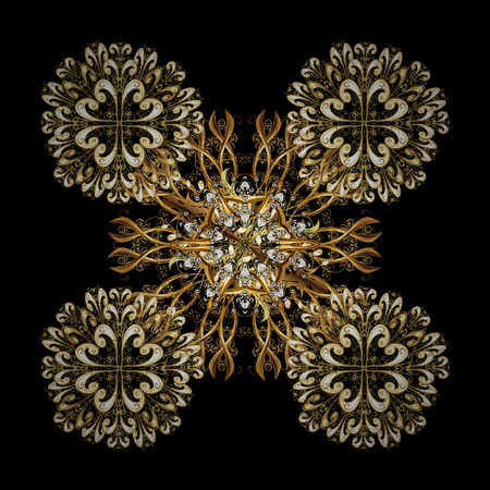 Vector Winter isolated ornament on a black Background with golden Snowflakes and dots. Can be used for textile, parer, scrapbooking, wrapping, web and print design.