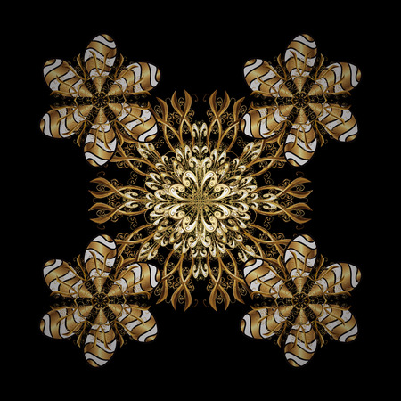 Golden snowflake vector design in golden colors. Isolated ornament. Snow flakes background. Vector illustration. Illustration