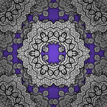 distinguished: Classic vector white seamless pattern. Traditional orient ornament. Classic vintage background. Seamless pattern on violet background with white elements. Illustration