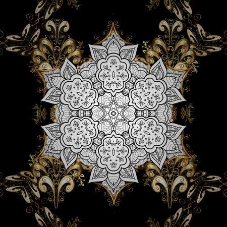 Floral tiles. Pattern oriental ornament. Golden pattern on black background with golden elements. Islamic design. Vector golden textile print.