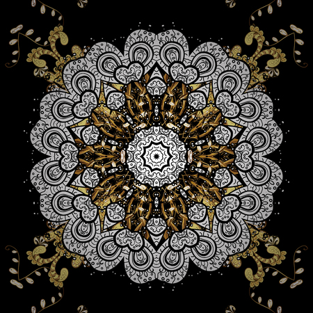 Vector traditional classic golden pattern with white doodles on black background. Oriental ornament in the style of baroque.