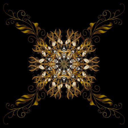 Vector isolated ornament with stylized golden snowflakes. Winter, New Year, Christmas simple design on a black background. Snow crystal regular texture on colors. Illustration