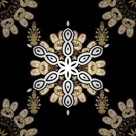 Abstract sketch, wrapping decoration. Winter symbol, Merry Christmas holiday, Happy New Year 2018. Golden snowflake. Vector golden pattern on black background with golden element.