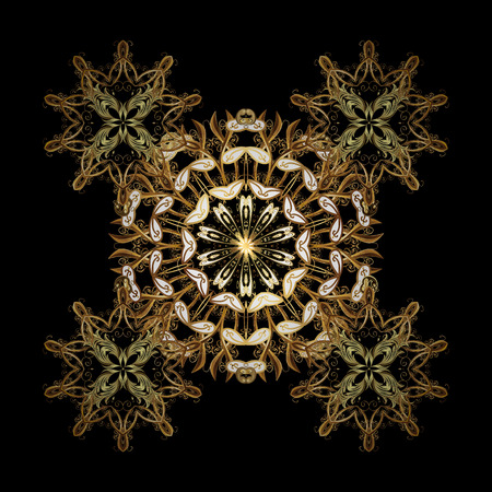 Vector golden snowflakes and christmas winter ornament. Digital hand drawn of element in the clean, whimsical and modern surface ornament on black background in golden colors.