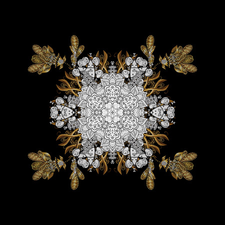 Golden snowflake. Abstract sketch, wrapping decoration. Winter symbol, Merry Christmas holiday, Happy New Year 2018. Vector golden pattern on black background with golden element