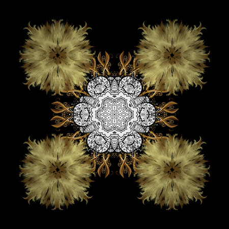 Damask pattern background for sketch design in the style of Baroque. Golden pattern on black background with golden elements. Ornate vector decoration.