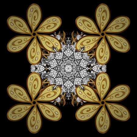 rococo: Paisleys elegant floral vector background sketch illustration with vintage stylish beautiful modern 3d line art gold and paisley flowers, doodles, leaves and ornaments. Illustration