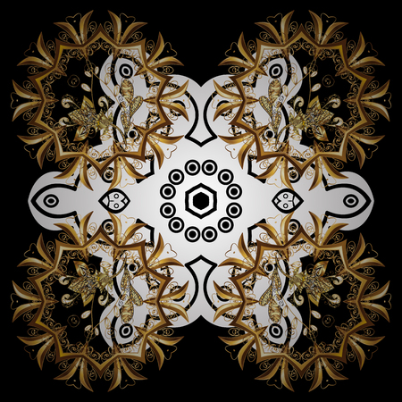 tillable: Floral pattern. Sketch baroque, damask. Vector background. Golden elements on black background. Stylish graphic pattern. Illustration