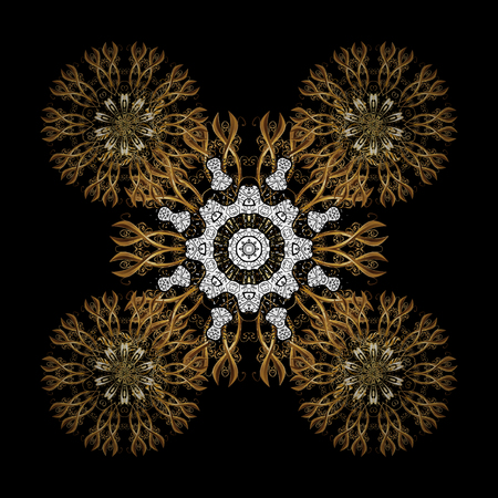 Golden pattern. Vector oriental ornament. On black background with golden elements and with white doodles. Illustration