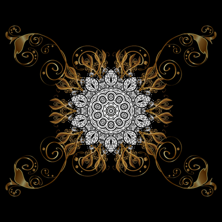 golden daisy: Classic vector golden pattern. Traditional orient ornament. Classic vintage background. On black background with golden elements. Vector illustration.