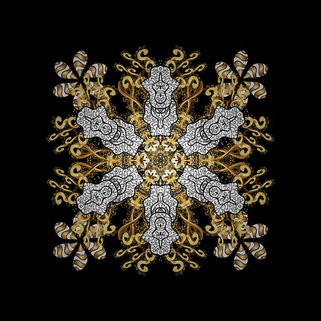 golden daisy: Vector vintage baroque floral pattern in gold. Ornate decoration. Luxury, royal and Victorian concept. Golden pattern on black background with golden elements.