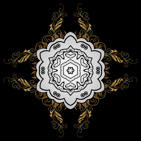 intertwined: Vector golden pattern. Golden textured curls in oriental style arabesques. Golden pattern on black background with white doodles. Illustration
