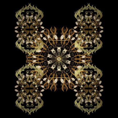 Fiocchi di neve dorati astratti disegnati a mano isolati. Modello per copertina, poster, t-shirt o tessuto. Illustrazione vettoriale invernale in colori dorati.