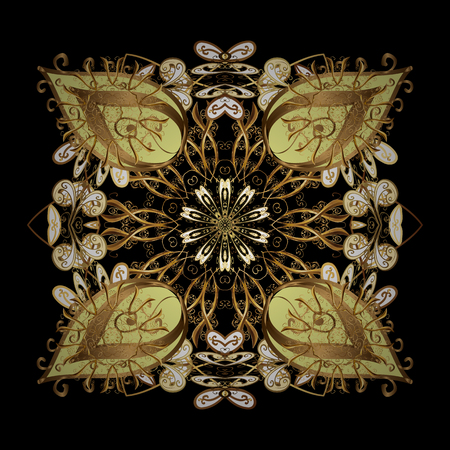 Simple snowflakes isolated ornament, floral elements, decorative ornament. Isolated ornament on black background. Arab, Asian, ottoman motifs in golden colors. Vector illustration.
