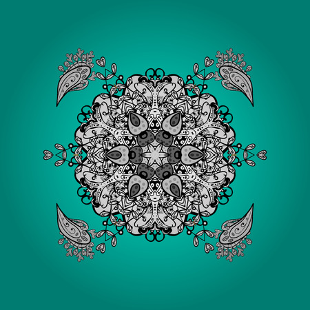 tillable: Oriental ornament in the style of baroque. Traditional classic white vector pattern on blue and white background with white elements.