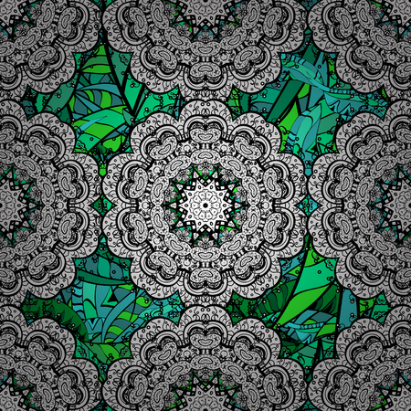 Elegant vector classic pattern. Seamless abstract background with repeating elements. And green pattern.