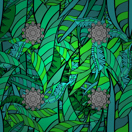 Damask seamless pattern for design. Vector seamless pattern on background with green elements and with gray doodles. Vector illustration. Illustration