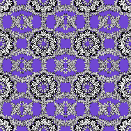 Seamless gray pattern. Vector oriental ornament. Gray pattern on violet background with gray elements.
