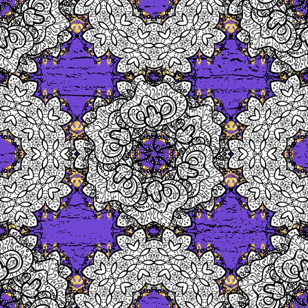 Vector vintage baroque floral seamless pattern in gold. Golden pattern on violet background with golden elements. Ornate decoration. Luxury, royal and Victorian concept.