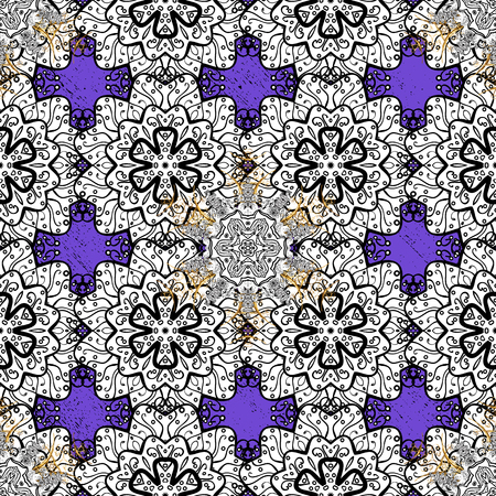 Christmas, snowflake, new year. Golden pattern on violet background with golden elements. Seamless vintage pattern on violet background with golden elements.