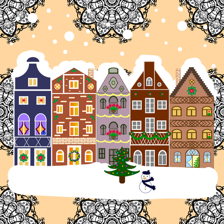 Winter city with trees, cute houses. Winter is coming. Holidays Vector illustration. Nature landscape. Vector illustration. Landscape with nature and houses. Illustration