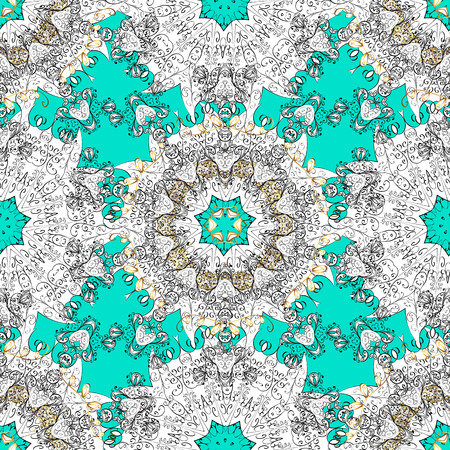 Vector illustration. Vintage seamless pattern on a blue background with white elements. Illustration