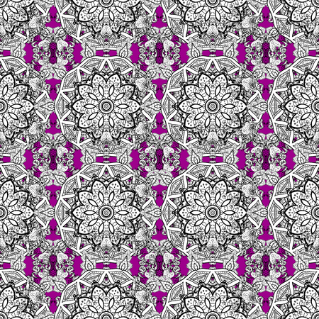 Damask gray abstract flower seamless pattern on magenta background. Ornate decoration. Vector illustration.