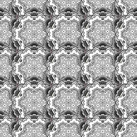 ベクトルの図。背景の白い要素でビンテージのシームレスなパターン。