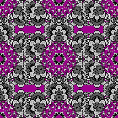 tissue paper art: Seamless gray pattern. Vector oriental ornament. Seamless pattern on magenta background with gray elements.