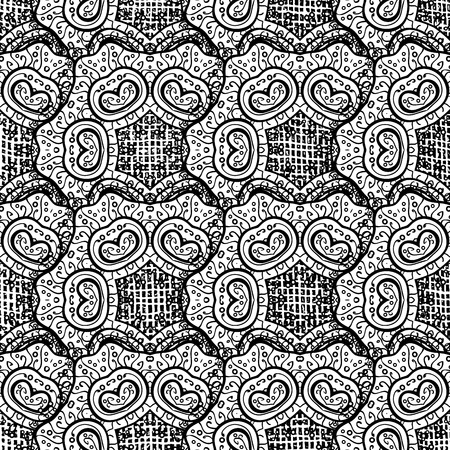 tillable: Vintage seamless pattern with gray elements. Christmas 2018, snowflake, new year. Vector illustration.