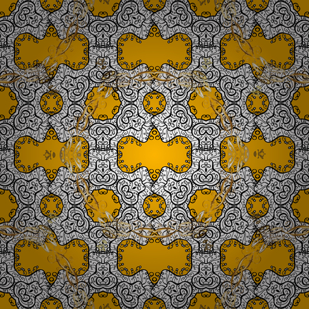 tillable: Seamless vintage pattern on yellow background with golden elements and with white doodles. Christmas, snowflake, new year.
