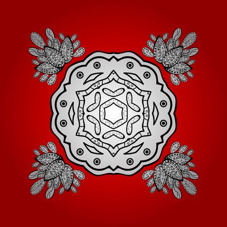 Classic pattern. Vector traditional orient ornament. White pattern on red and white background with white isolated elements. Illustration