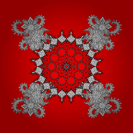 Original pattern. Vector oriental ornament. On red and white background with white elements and with white doodles.