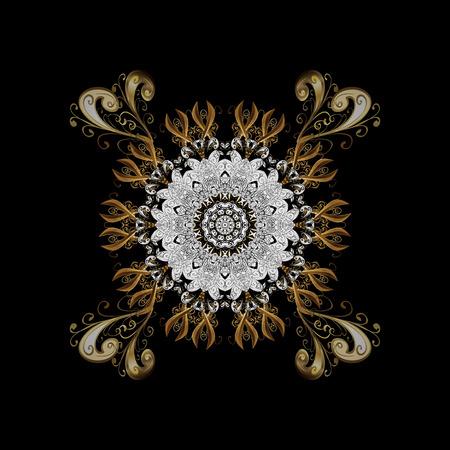Golden pattern. Vector golden floral ornament brocade textile pattern, white doodles. Metal with floral pattern. Background with golden elements.