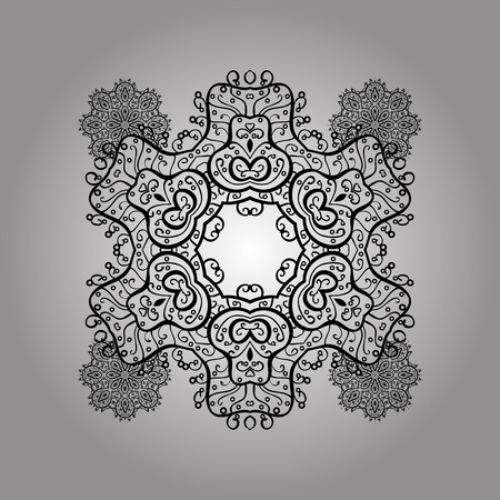 White pattern. Vector oriental ornament. Pattern with doodles on white background with isolated elements. Illustration