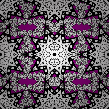 Floral pattern. Sketch baroque, damask. Seamless vector background. Grayen elements on magenta background. Stylish graphic pattern.
