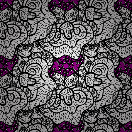 Seamless classic vector gray pattern. Traditional orient ornament. Classic vintage background. Seamless pattern on magenta background with gray elements.