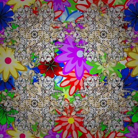 Vintage vector floral seamless pattern colorful. Illustration