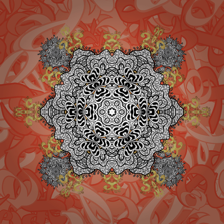 Classic oriental pattern over background. Damask seamless ornament. Traditional vector and gray pattern.