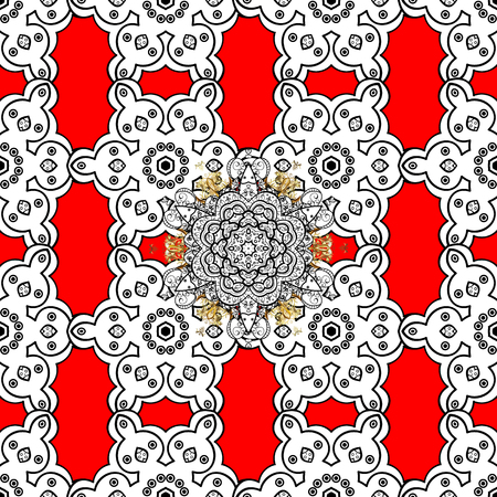 Damask seamless ornament. Traditional vector and golden pattern. Classic oriental background with white doodles.