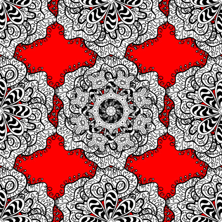 Doodle background in vector with doodles, flowers and paisley. Vector ethnic pattern can be used for sketch, pattern fills, coloring books and pages for kids and adults. Red background.