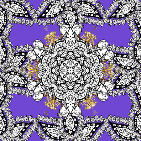 intertwined: Floral pattern. Sketch baroque, damask. Stylish graphic pattern. Seamless vector background. Golden elements on violet background. Illustration