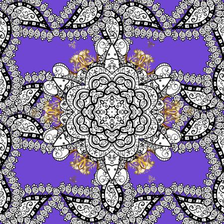 Floral pattern. Sketch baroque, damask. Stylish graphic pattern. Seamless vector background. Golden elements on violet background. Illustration
