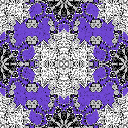 scabrous: White pattern. Vector oriental ornament. Pattern on violet background with white elements. Illustration