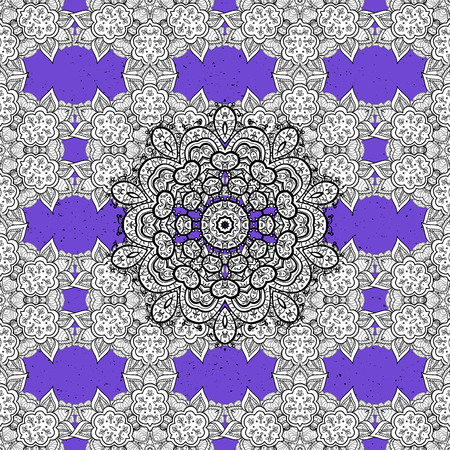 Vector white pattern. Oriental style arabesques. Colored pattern on violet background with white elements. White textured curls.