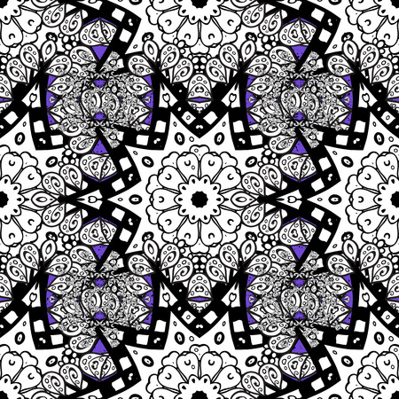 Vector oriental ornament. White pattern on violet background with white elements. White pattern.